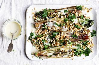 Grilled Romaine with Corn and Creamy Anchovy Garlic Vinaigrette Recipe on Food52 recipe on Food52