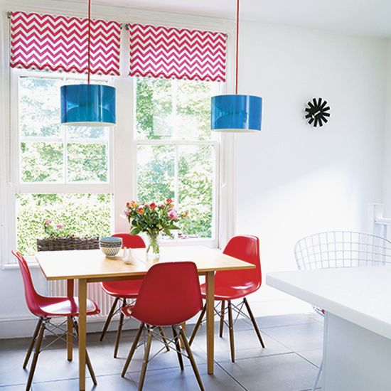 Add colour to your dining area with a bold lampshade, choose a bright accent for a fun look.