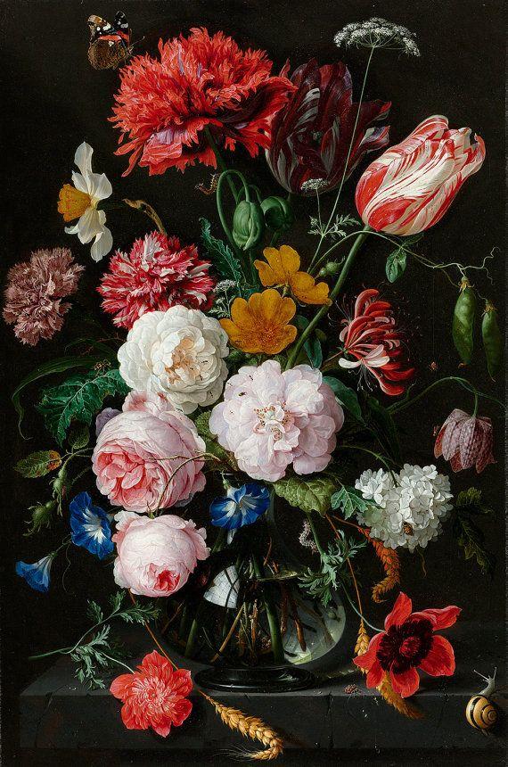Stilleven met bloemen in een glasvaas, door Jan Davidsz. de Heem (1650-1683) BESCHIKBARE FORMATEN: * Papierformaat: 17 x 22-inch (afbeelding: 13.2 x 20) * Papierformaat: 13 x 19 (afbeelding: 11 x 16,6) * Papierformaat: 9,5 x 13 (afbeelding: 7.2 x 11) Archivering Inkjet op Fine Art papier Matte afwerking - witte randen - getextureerde oppervlak SYNOPSIS Een stilleven van de Nederlandse Gouden eeuw met rozen, tarwe, koe peterselie, narcissus, sweet pea, kamperfoelie, anemone en andere plan...