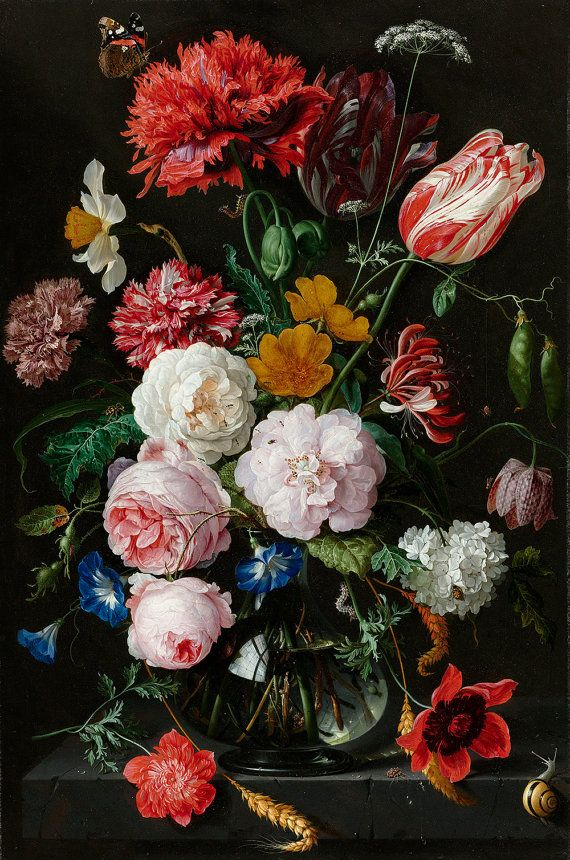 Still Life with Flowers in a Glass Vase, by Jan Davidsz. de Heem (1650-1683) AVAILABLE FORMATS: * Sheet Size: 17 x 22 (Image: 13.2 x 20) * Sheet