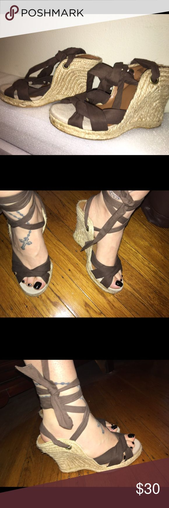 Brown tie up espadrille wedges old navy brown tie up espadrille wedges! Super cute for the summer!!! Old Navy Shoes