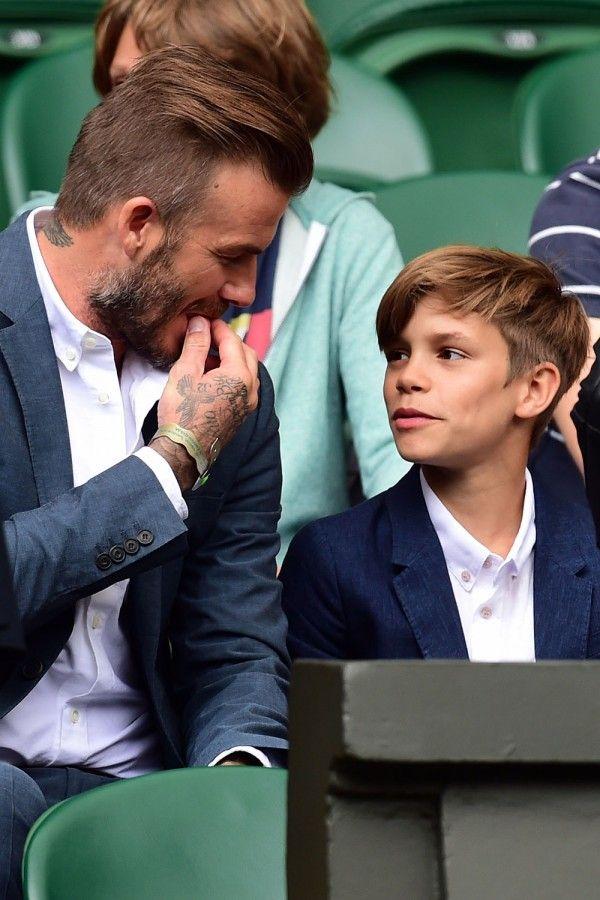 David And Romeo Beckham Having A Father Son Moment At Wimbledon 2015