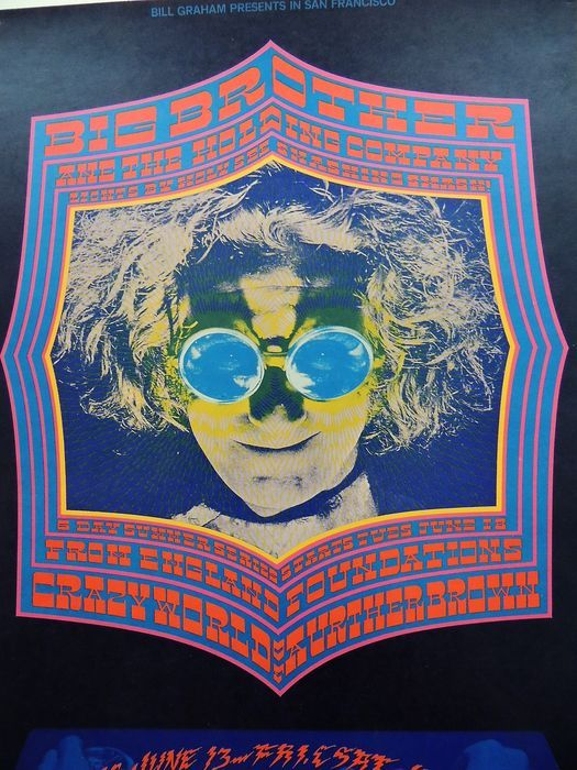 "Rare psychedelic ""Janis Joplin, Arthur Brown "" Dance Concert Poster San Francisco 1968 - W.B."