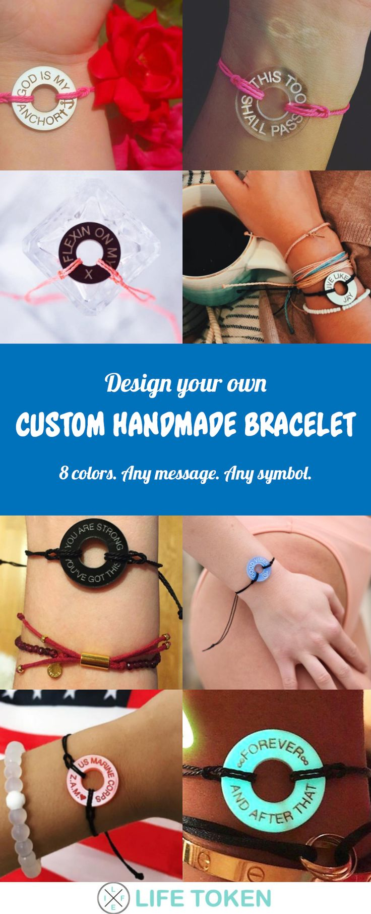 Custom handmade bracelets for him, for her, for couples. Custom bracelet maker and custom engraving. Any message, any language, any symbol. Custom friendship bracelets with names. Handmade bracelets with string. Personalized jewelry.