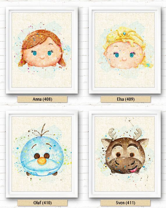 frozen anna watercolor art print watercolor painting burlap print tsum ...