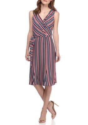 Donna Morgan Women's Stripe Surplice-Neck Belted Dress - Purple Multi - 2