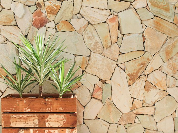 Close up of Eco Outdoor Crackenback free form sandstone walling, design by Stile Interiors. | Eco Outdoor | Crackenback freeform walling | livelifeoutdoors | Outdoor Design | Natural stone walling | Garden design | Outdoor paving | Outdoor design inspiration | Outdoor style | Outdoor ideas | Luxury homes | Paving ideas | Garden ideas | Stone veneer | Stone walling | Stone wall cladding