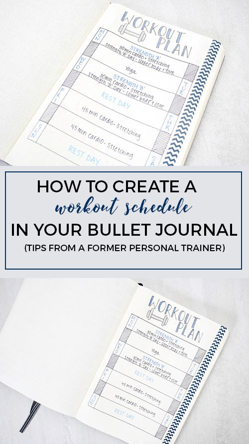 Creating a workout schedule in your bullet journal (written by a former personal trainer!)                                                                                                                                                                                 More