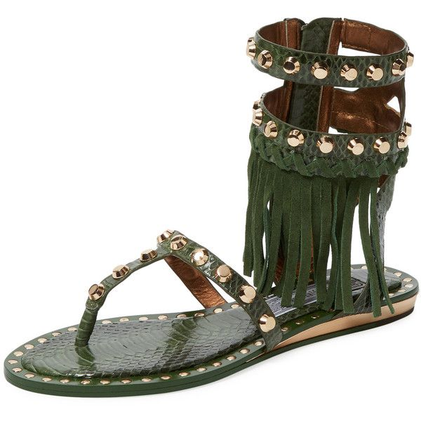 Ivy Kirzhner Barbados Gladiator Sandal ($199) ❤ liked on Polyvore featuring shoes, sandals, green, wedges shoes, green sandals, flat shoes, ankle strap flat sandals and fringe gladiator sandals