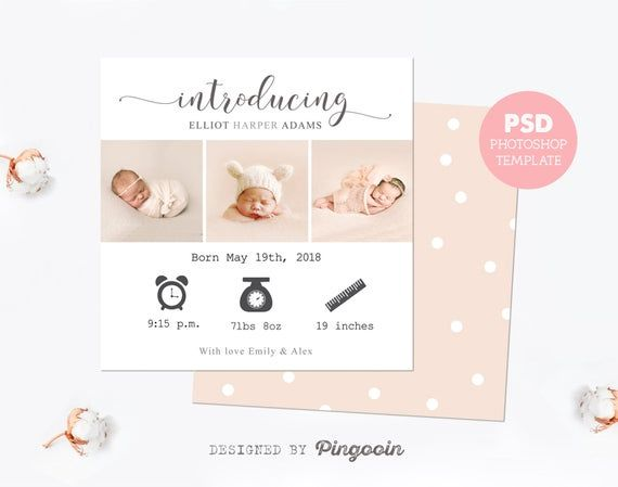 Personalized Birth Announcement Card Baby Girl Announcement Card Custom Baby Girl Announcement Cards Baby Girl Announcement Personalized Birth Announcements