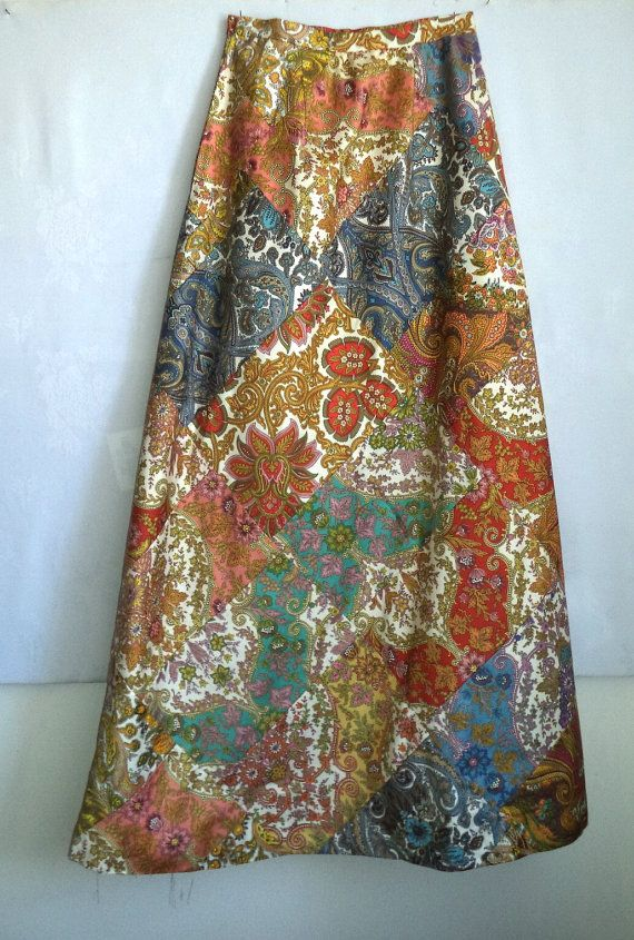 70s Mod Skirt Couture Maxi Patchwork A LINE by MushkaVintage3