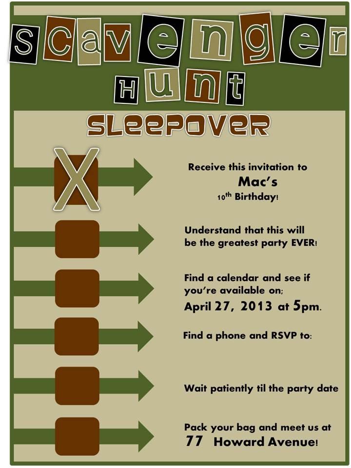 scavenger hunt sleepover invitation