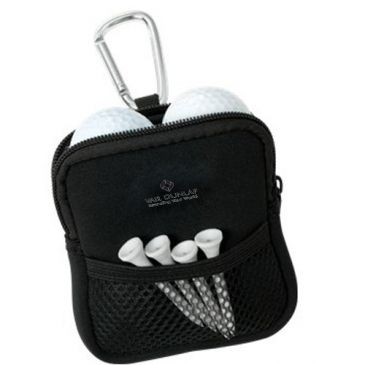 Neoprene Golf Pouch - Note: golf balls and tees are not included.  A front mesh pocket for additional storage, and upgraded aluminum carabineer to attach to any golf bag. A Neoprene pouch featuring a main compartment that can hold up to 4 golf balls, divot and tees.