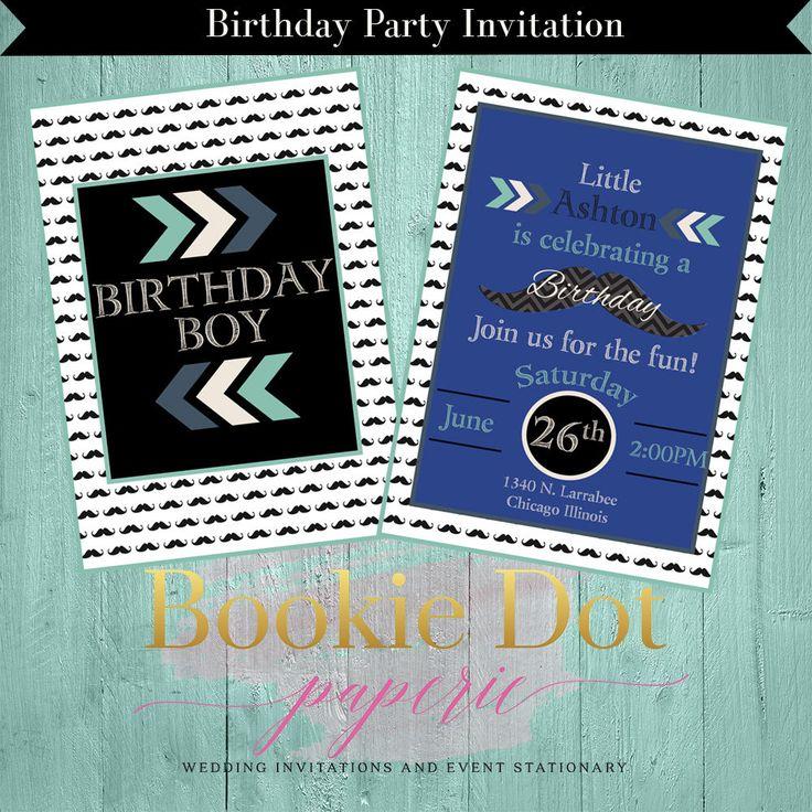 Boy Birthday Party Invitation/Mustache Birthday Party Invitation/Arrow Birthday Party Invitation/DIY Birthday Party Invitation/ by BookieDotPaperie on Etsy
