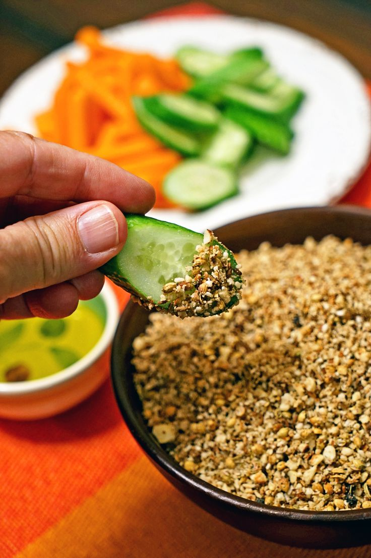 Dukkah Egyptian Spice Mix is a warm and spicy concoction to be used for dipping. It can be sprinkled over salads, too. Be creative. Primarily made of toasted nuts and spice seeds then ground.