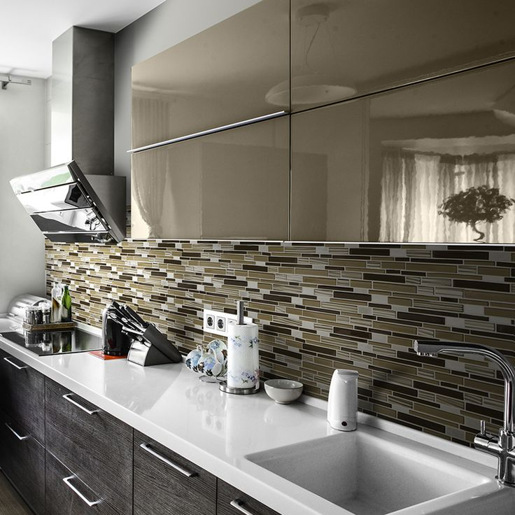 Gold Drop Glass and Metal Mosaic Wall