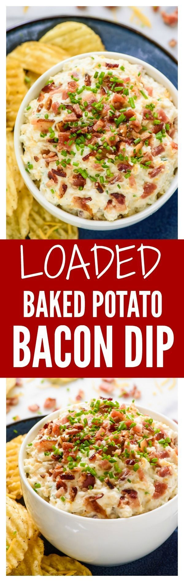 No one will be able to stop eating this Loaded Baked Potato Dip with bacon, sour cream, and all the fixin's! Lightened up with Greek yogurt, but no one will ever guess. Perfect super bowl recipe!