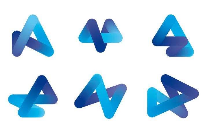 Evolution of the A for Architecture, as a three dimensional form which develops and transforms over time and projects SEA Design