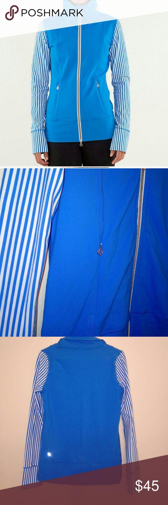 Lululemon Athletica Zip Up. Women's Lululemon Athletica Zip up, size 6 (medium) blue and white.   ??No Trades! ??Make an offer! lululemon athletica Tops