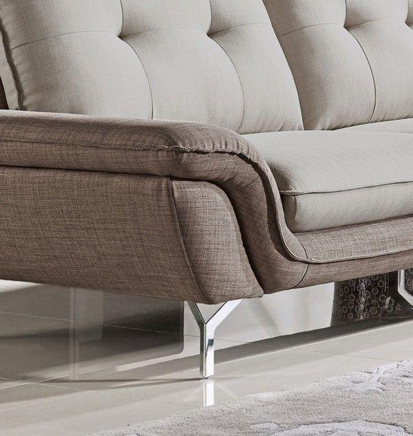 Right Facing Chaise Chrome Legs 2-Tone Grey Fabric Sectional Sofa VIG-VGMB-1603-SF