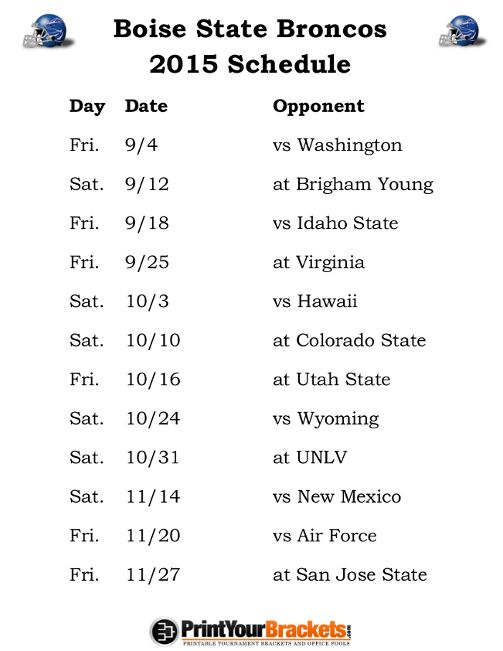 Printable Boise State Broncos Football Schedule 2015