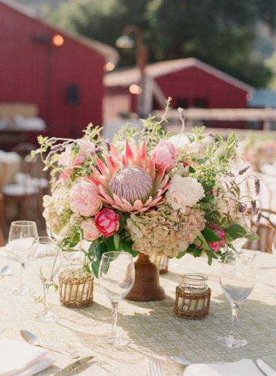 #centerpieces #Protea Photography by elizabethmessina.com, Design and Production by http://merrylbrownevents.com, Florals and Decor by http://mindyrice.com Read more - http://www.stylemepretty.com/2013/08/15/ojai-valley-rehearsal-dinner-from-elizabeth-messina-photography/