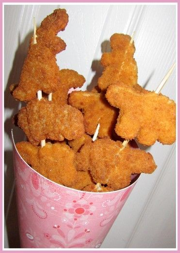 dinosaur chicken nuggets, great idea for a kids party, minus the skewers