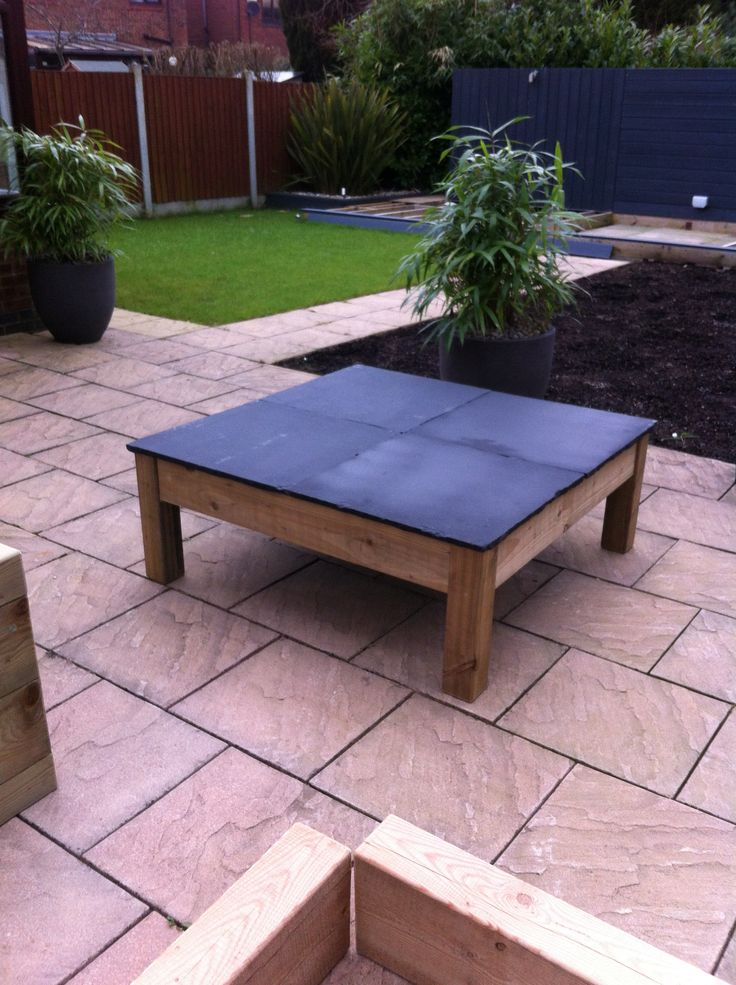 Diy Contemporary Outdoor Coffee Table ,with Limestone Paving Slabs As The  Top