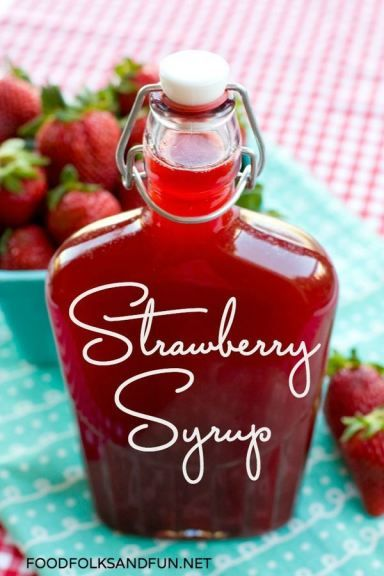 Strawberry Syrup Recipe -it's SO easy, and you need only 4 ingredients! It's perfect for pouring over the top of a big stack of pancakes. #StrawberrySeason #foodfolksandfun