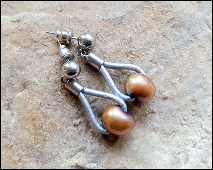 Bohemian Pearls, dangle earrings, hippie, boho chic, romantic, feminine, for her, glossy, golden pearls, rustic, stainless steel, leather by KatalinaArt on Etsy