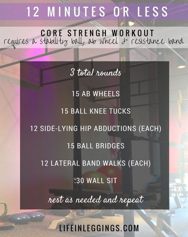 A week's worth of workouts including a 12 minute or less core strength circuit. #weeklyworkouts