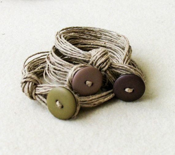 Sand color Linen Bracelet knots Fiber Bracelet by totalhandmadeD, €17.00