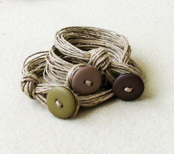 Sand color Linen Bracelet knots Fiber Bracelet by totalhandmadeD, €17.00