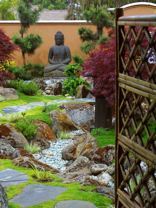 divine entrance in elegant zen garden retreat from hgtv - Home Garden Design