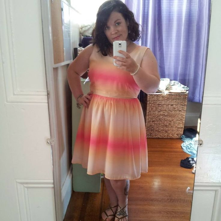 Gratuitous full-length mirror shot of one of my favorite dresses. Pink and Orange Ombre by Jack for BB Dakota.  Purchased from Calico in Downtown New Bedford, MA.  Sandals: Merona by Target.