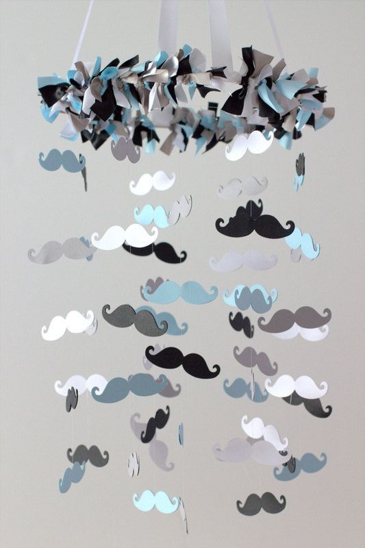Mustache Nursery Mobile in Baby Blue Black by LovebugLullabies