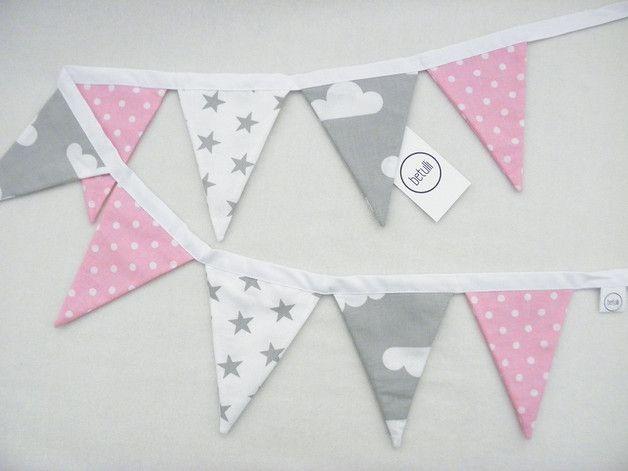 Girlanden & Wimpelketten - 2m - Wimpelkette - Girlande rosa grau weiß - ein Designerstück von Betulli bei DaWanda