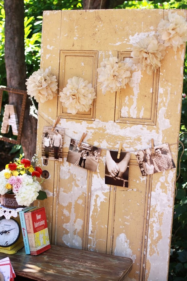 Love this old door ... great idea for a wedding photobooth backdrop or decor (cookiemondays.blogspot.com)
