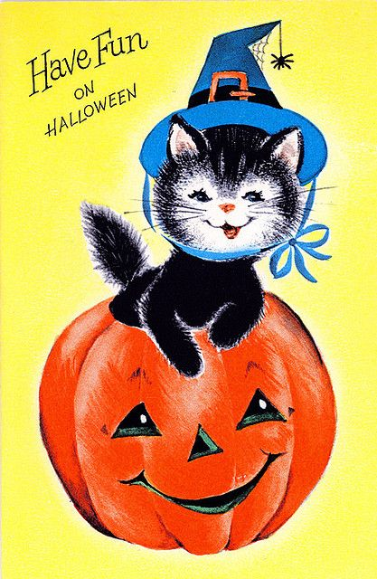 I love vintage Halloween post cards and decorations. They were a little before my time. I love the simplicity of them