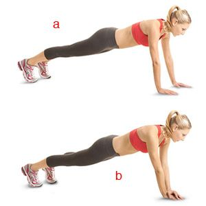 Start in a pushup position with your feet hip-width apart, your body in a straight line from shoulders to ankles, and your hands just outside your shoulders (a). Quickly touch your left hand to the top of your right hand (b), then quickly return to the starting position. Immediately repeat to the opposite side, touching your right hand to the top of your left hand. That's one rep. Do 10.