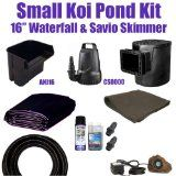 "15 x 20 Small Koi Pond Kit 3,200 GPH Savio Compact Skimmer With 8.5"" Faceplate, & Anjon 16"" Waterfall SH0"