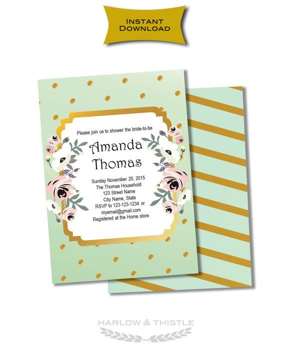 INSTANT DOWNLOAD two-sided editable Shower by HarlowAndThistle