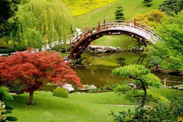 japanischer garten schön brücke rasenflächen see