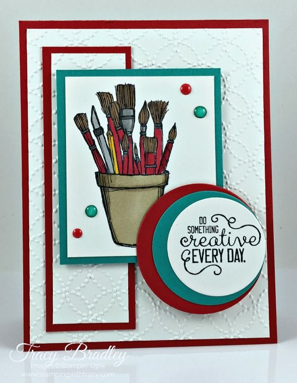 Handmade card featuring the Stampin' Up! stamp set, Crafting Forever.  Created by Tracy Bradley  www.stampingwithtracy.com