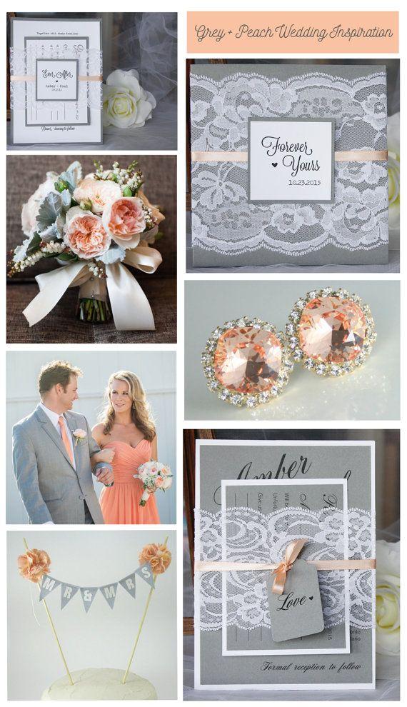 Peach and grey lace wedding invitations from always, by amber #greypeachwedding…