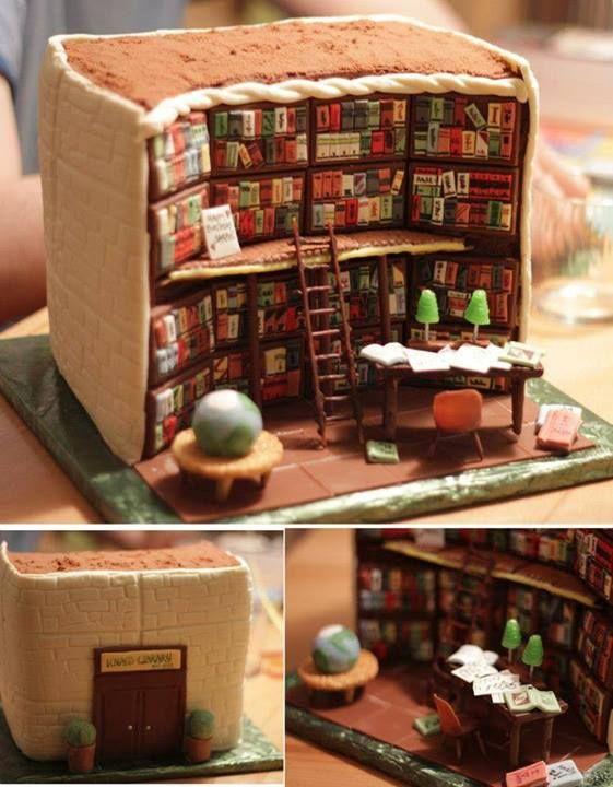 Um bolo  biblioteca!!!!