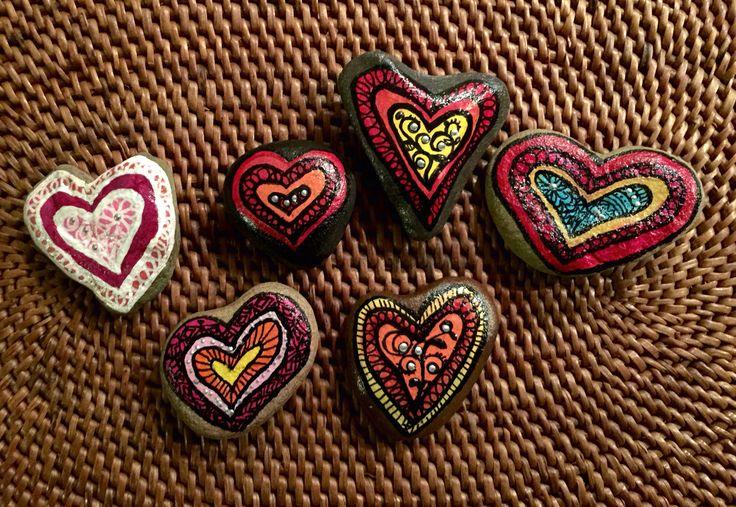 Love #heart rocks #Hand painted # by Kakaya Surf Art