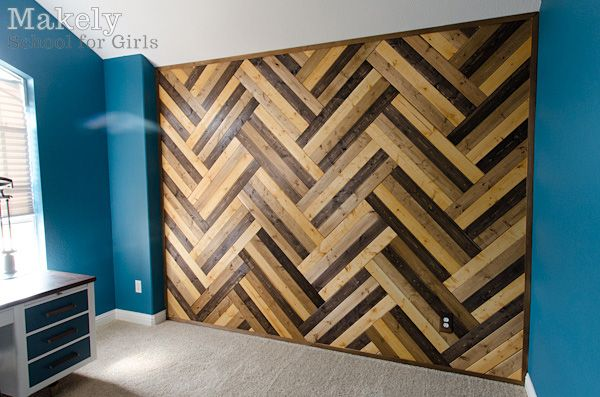 DIY Herringbone Wood Paneled Wall - could do this for a table top, piece of art in a frame, floor, etc!