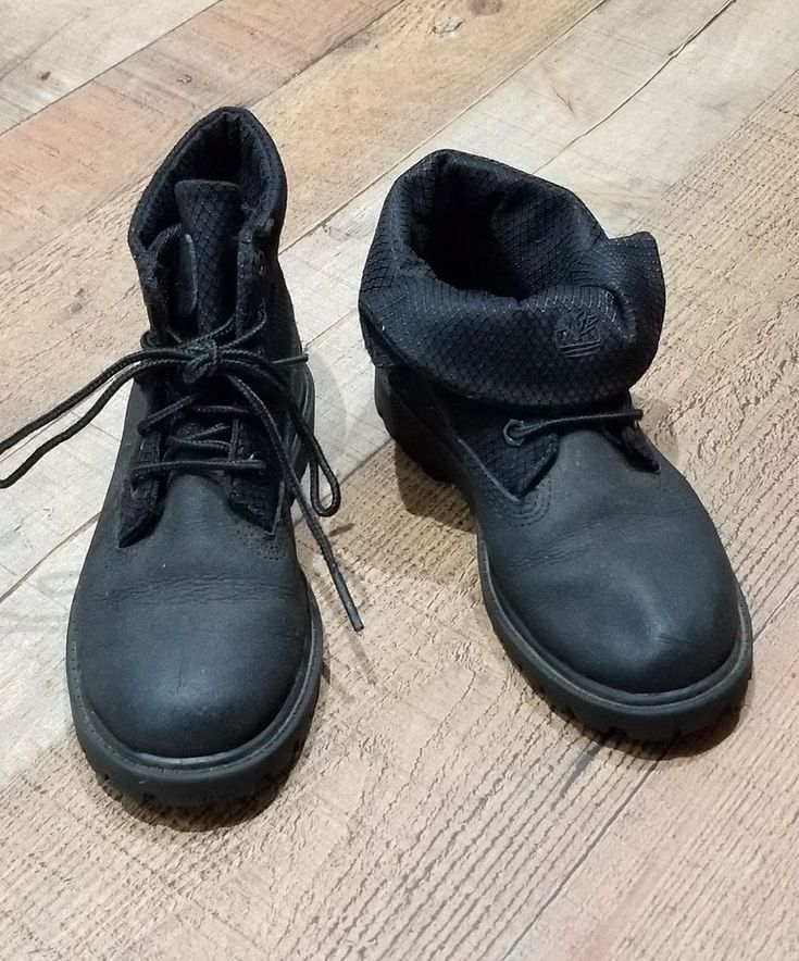 Timberland Boots size 12 Toddler Boys Roll Top Black Fold Over Preschool kids #Timberland #Boots