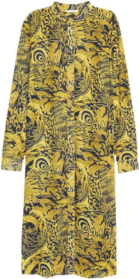 H&M Long Shirt Dress - Yellow/patterned